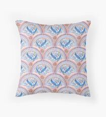 Art Deco Fresco in Sky Blue and Coral Throw Pillow