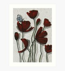 Red Poppies with a Butterfly Art Print