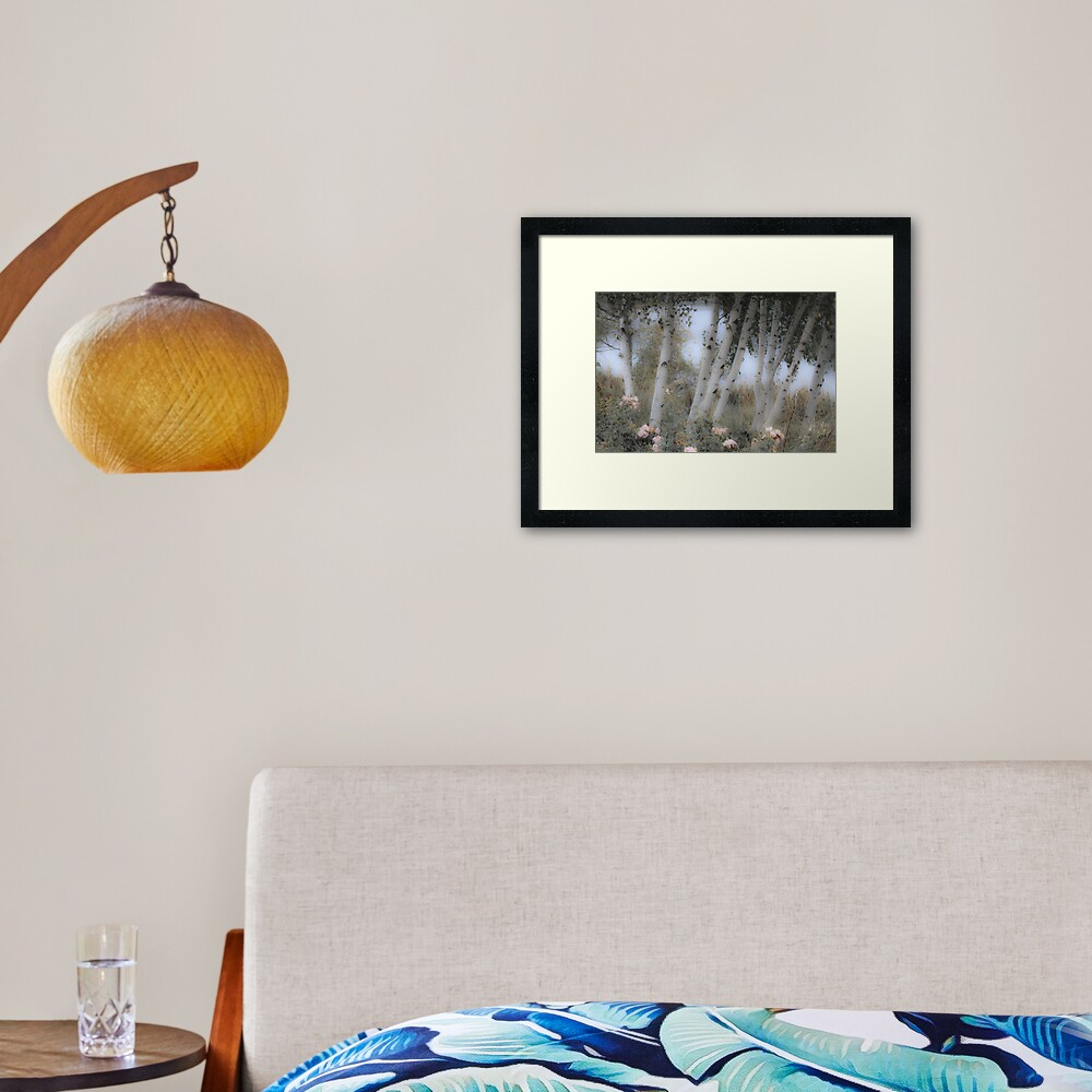 Rose and Birch Framed Art Print