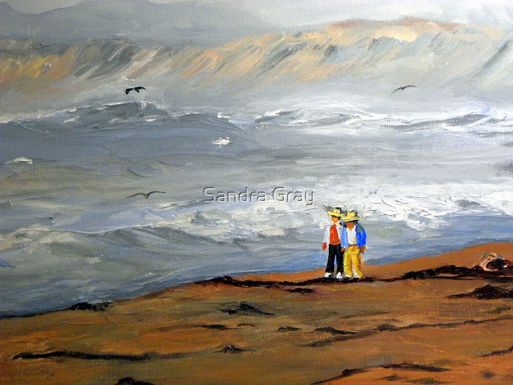 Surfs Up Couple Walk (Painting) by Sandra Gray