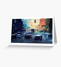 City traffic on a summer evening Greeting Card