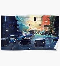 City traffic on a summer evening Poster