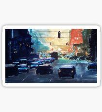 City traffic on a summer evening Sticker