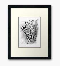 ANZAC Aussie Diggers WW2 drawing Framed Print