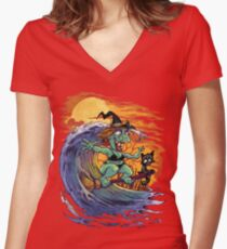 Witch At the Beach Women's Fitted V-Neck T-Shirt