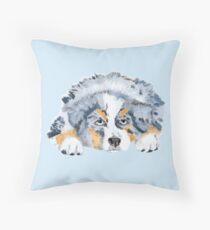Australian Shepherd Blue Merle Puppy Throw Pillow