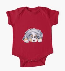 Australian Shepherd Blue Merle Puppy One Piece - Short Sleeve
