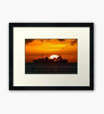 Ocean Liner at sunset Framed Print