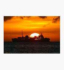 Ocean Liner at sunset Photographic Print