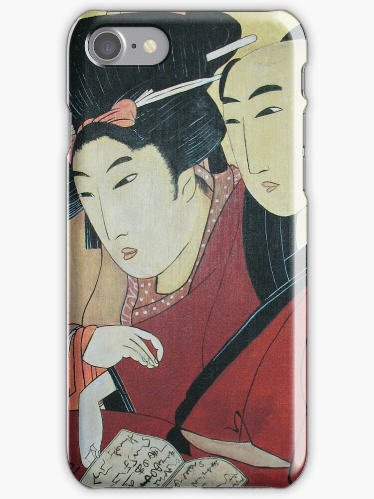 The Lovers Ohan and Chomon iPhone Case by Carrie Jackson