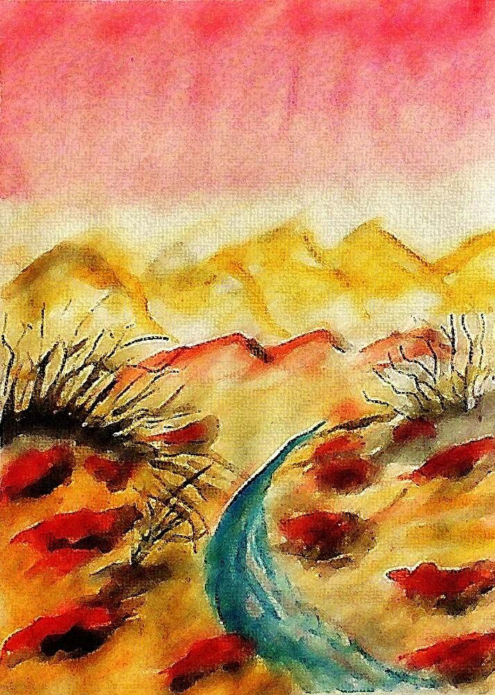 A little flash flood in desert, watercolor by Anna  Lewis, blind artist
