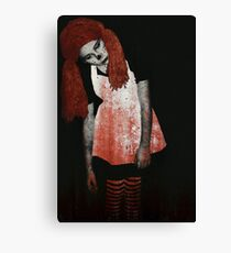What is Black and White and Red All Over? Zombie Raggedy Ann Canvas Print