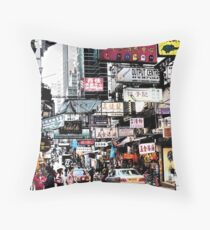 busy streets of Hong Kong, it's loud, it's colourful, it's life Throw Pillow