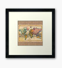 World Map 1700s Antique Vintage Hemisphere Continents Geography Framed Print