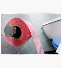 Pink toilet roll on holder in bathroom Poster