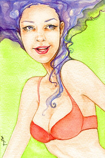 Sly Smile-Classic-style Pin-up by Rebecca Lesny
