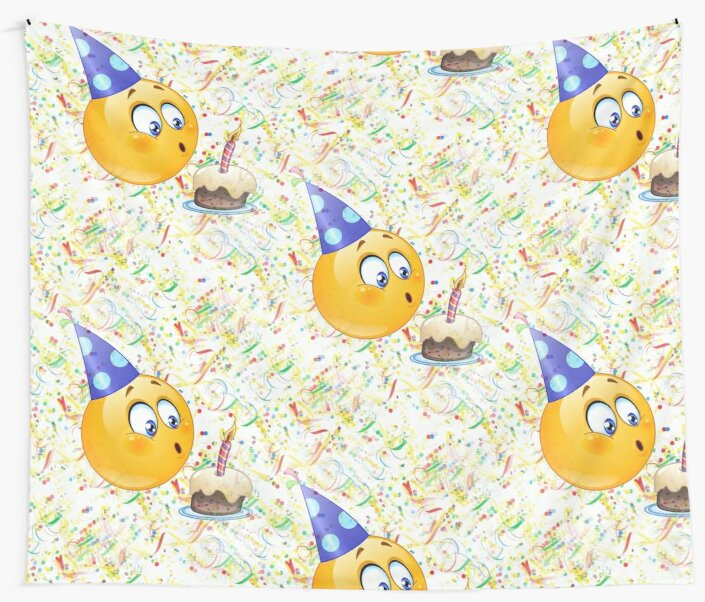Happy Birthday Emoji Wall Tapestries By Gossiprag