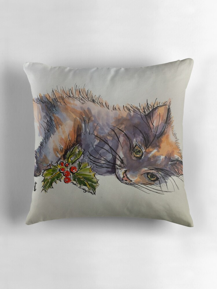 Quot Christmas Cat Elizabeth Moore Golding 169 Quot Throw Pillows By