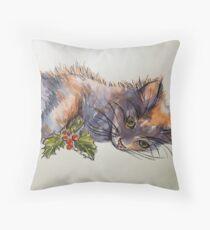 Christmas cat. Elizabeth Moore Golding© Throw Pillow