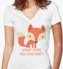 CARTOON FOX Women's Fitted V-Neck T-Shirt