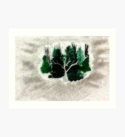 Collection of trees for Christmas, waterclor Art Print