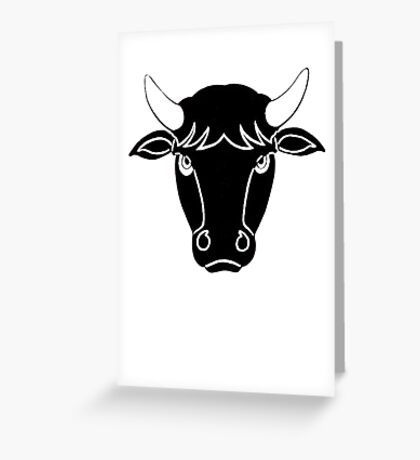 Bull Portrait Vector Greeting Card