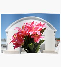 Silk Flowers at Grave Site Poster