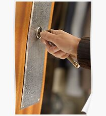 Woman opening front door with key Poster