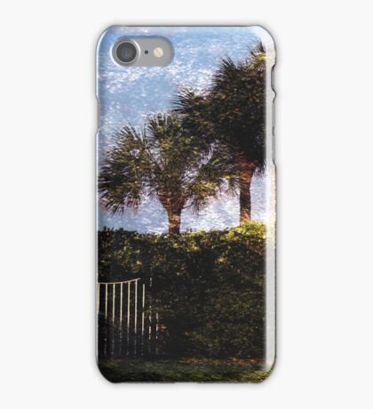 White Gate and Palm Trees (iPhone Case) iPhone Case/Skin