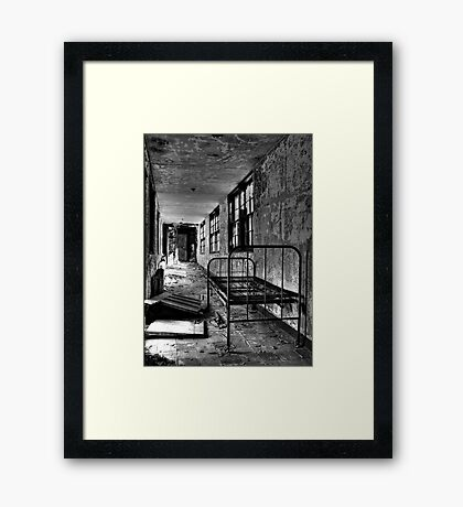 Psych Hall Patient Bed Framed Print