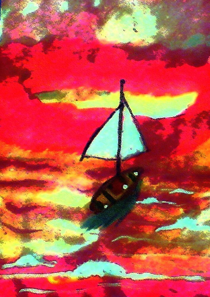 Sunset in a sail boat, watercolor by Anna  Lewis, blind artist