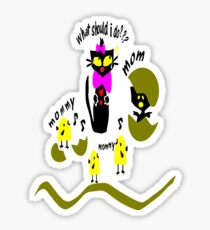 Funny kitty cat and bird vector art Sticker