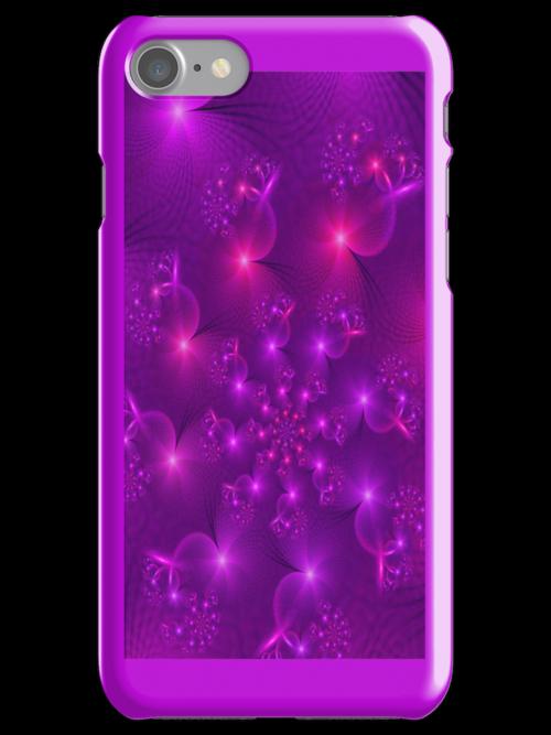 Purple hearts spiral Iphone case by inkedsandra