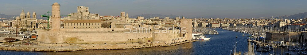 Panoramic view of Marseille's Vieux-Port on Mediterranean sea, France by Sami Sarkis