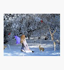 Yule Winter Faerie and Animals Photographic Print