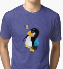 What are you doing, Tux? Tri-blend T-Shirt