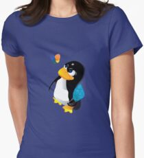 What are you doing, Tux? Women's Fitted T-Shirt