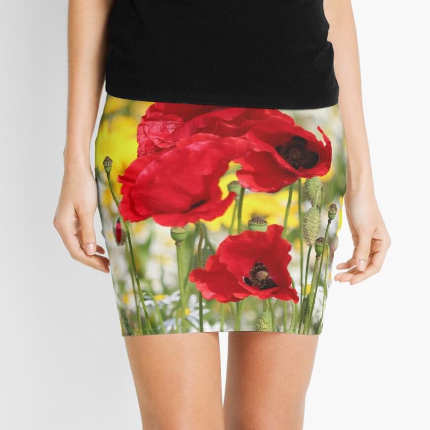 Poppy portrait Mini Skirt