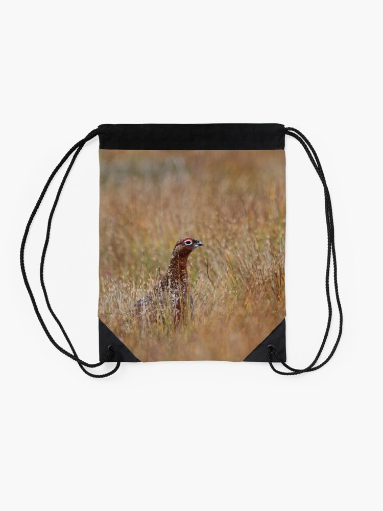 Alternate view of Red grouse Drawstring Bag