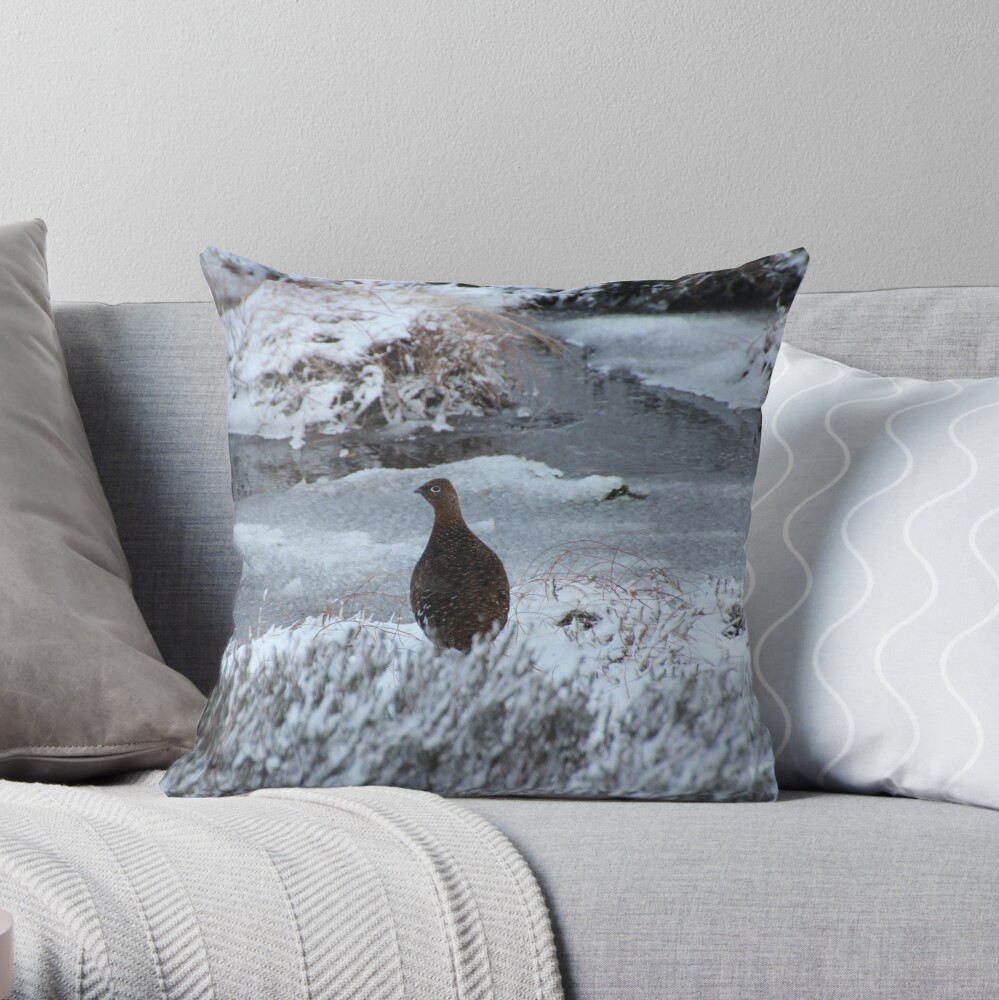 Red grouse in winter Throw Pillow