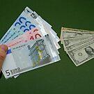 Man holding Euro banknotes by Sami Sarkis