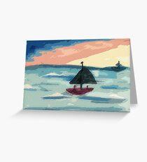 Fun at sunset, warwecolor Greeting Card