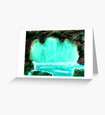 Waterfall in cave, watrcolor Greeting Card