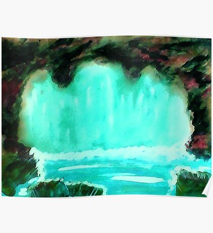 Waterfall in cave, watrcolor Poster
