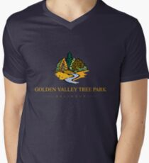 GVTP - Golden Valley Tree Park -T shirt -Yellow text Men's V-Neck T-Shirt
