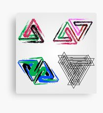 Penrose triangles with crayons Canvas Print