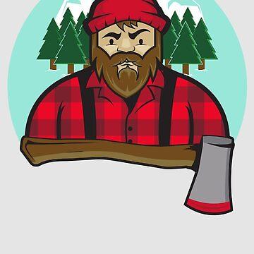 Bearded Lumberjack and axe by joebarondesign