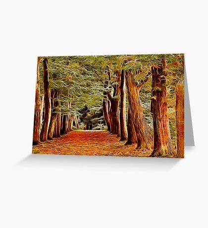 Fractalius Autumn Walkway Greeting Card