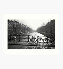 Bicycles on the Bridge Art Print