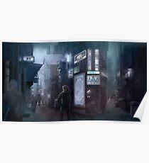 Cyberpunk Street at night Poster
